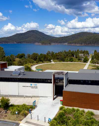 Outside the View Café and Hinze Dam Visitor Centre